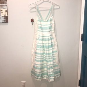 Anthropologie dress in teal, white, & modern lace